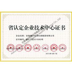 安徽省认定企业技术中心证书