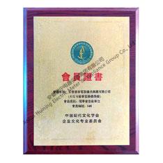 中国现代文化学会企业文化专业委员会会员证书