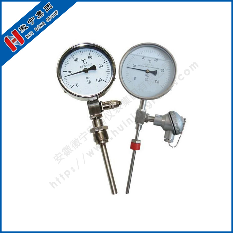 Double metal thermometer with thermocouple and thermal resistance
